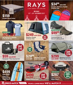 Offers from Ray's Outdoor in the Sydney NSW catalogue