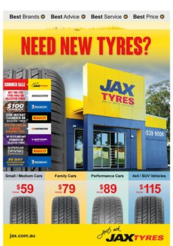 Cars, motorcycles & spares offers in the Jax Quickfit Tyres catalogue in Brisbane QLD