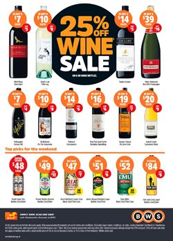 Grocery offers in the BWS catalogue in Baldivis WA