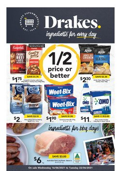 Supermarkets specials in the Drakes catalogue ( Expires today)