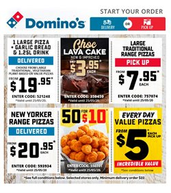 Restaurants offers in the Domino's Pizza catalogue in Hobart TAS ( Expires today )
