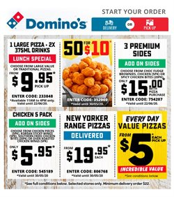 Restaurants offers in the Domino's Pizza catalogue in Perth WA ( Expires today )