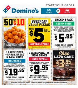 Restaurants offers in the Domino's Pizza catalogue in Shepparton VIC ( Expires today )