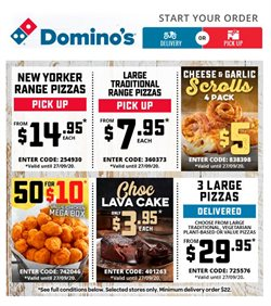 Restaurants offers in the Domino's Pizza catalogue in Wallan VIC ( Expires today )