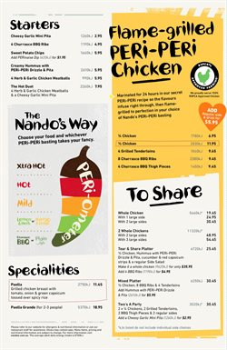 Restaurants offers in the Nando's catalogue in Adelaide SA