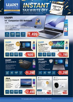 Electronics & Appliances specials in the Leader Computers catalogue ( Expires today)