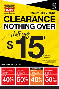 Clothing, Shoes & Accessories offers in the Rivers catalogue in Sydney NSW