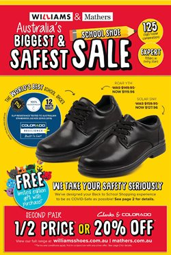 Back To School specials in the Williams Shoes catalogue ( More than one month)
