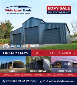 DIY & Garden offers in the Wide Span Sheds catalogue in Port Augusta SA ( More than one month )