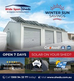 Wide Span Sheds catalogue in Swan Hill VIC ( 2 days ago )