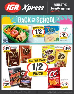 Back To School specials in the IGA catalogue ( Published today)