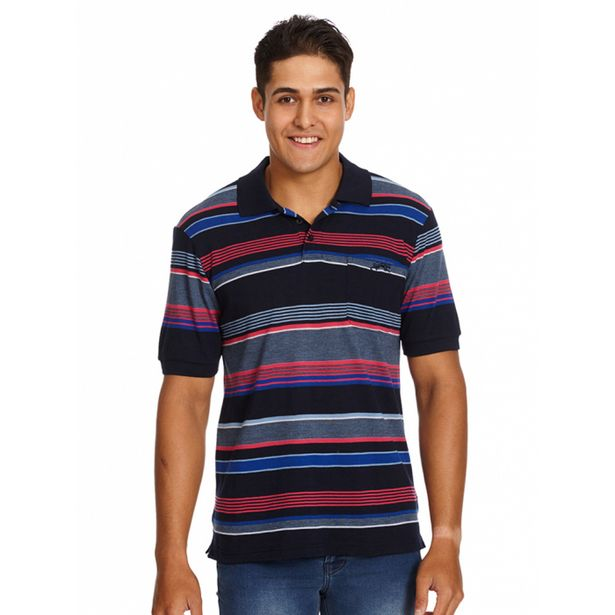Cougars Navy & Pink Stripe Birdseye Polo deal at $35