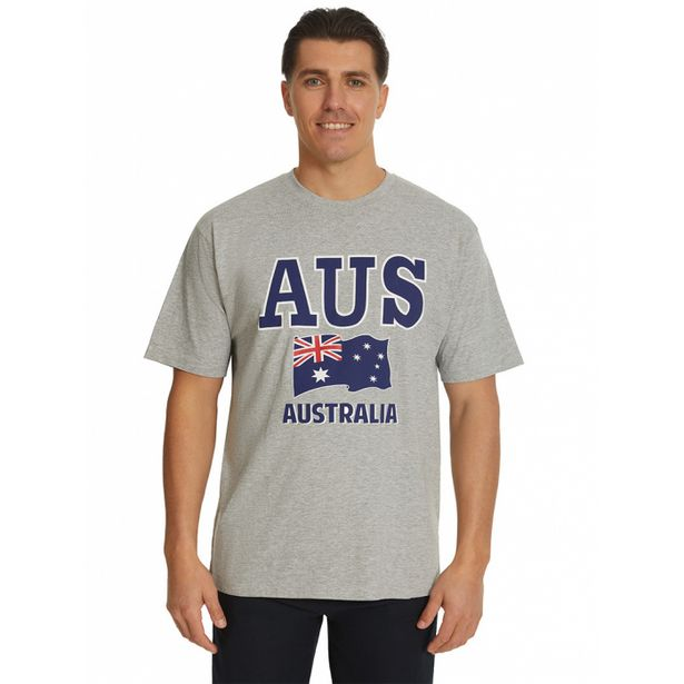 Lowes Australian Flag Grey Marle T-Shirt deal at $14.95