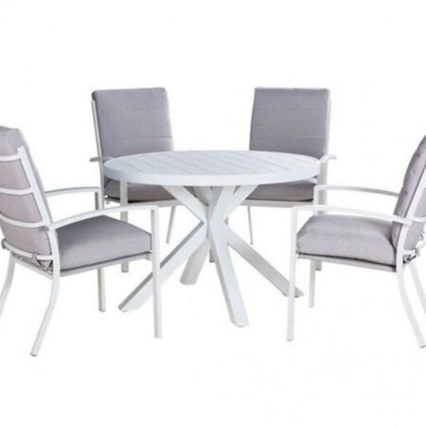 Jette Highback 5 Piece Dining (White) deal at $1299