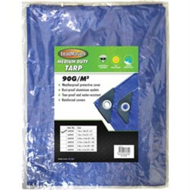 LOADMASTER TARPAULIN - BLUE WITH REINFORCED CORNERS 120 X 180CM deal at $6.95