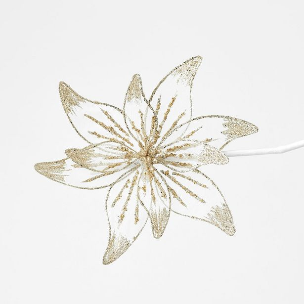Jewelled Poinsettia on Clip - Soft Gold deal at $4.89