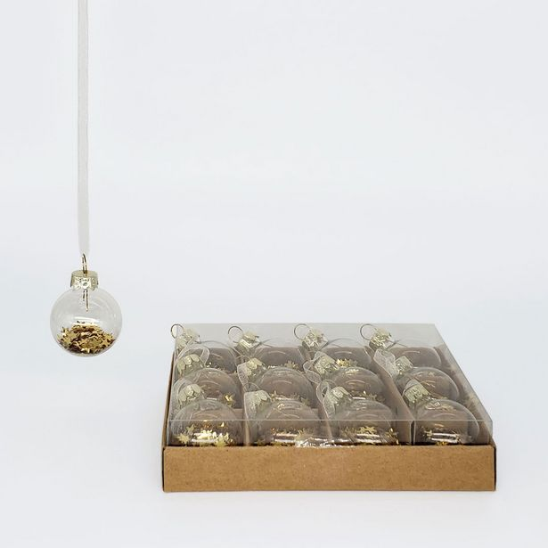 Mini Glass Balls with Stars Set - Gold deal at $7.69