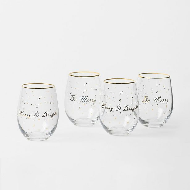 Christmas Glass Tumblers Set - Gold deal at $27.99