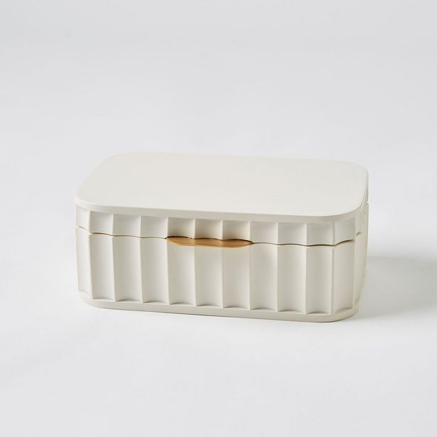 THORTON Ribbed Jewellery Box - White deal at $69.95