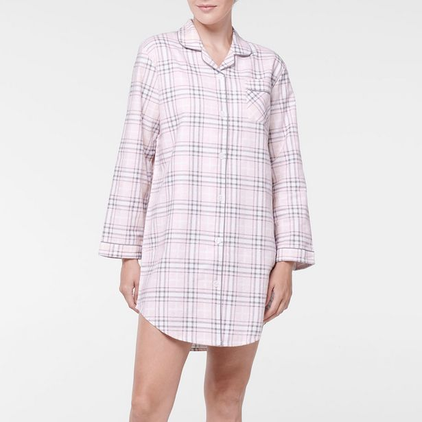 CHECKMATE Flannelette Night Shirt - Blush deal at $19.95