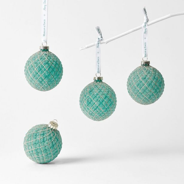 Set of 4 Glass Balls Icey Textured deal at $20.99