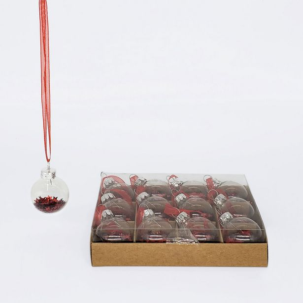 Mini Glass Balls with Stars Set - Red deal at $7.69