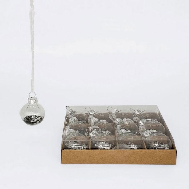 Mini Glass Balls With Stars Set Of 12 - Silver deal at $7.69