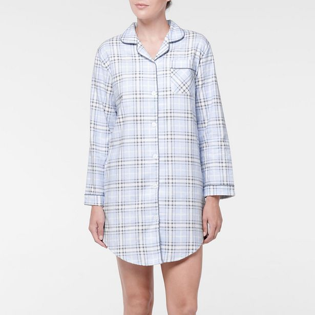 CHECKMATE Flannelette Night Shirt - Blue deal at $19.95