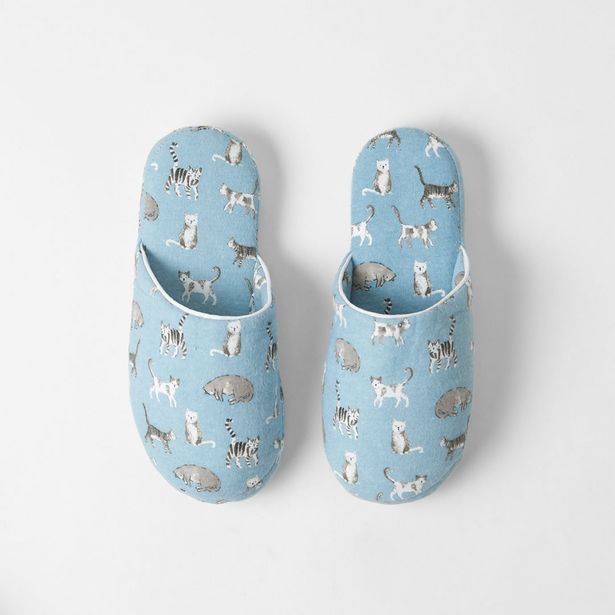 MISTY CATS Flannel Slippers - Blue / Charcoal deal at $7.45