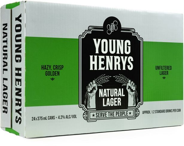 Young Henrys Natural Lager Can 375mL deal at $66
