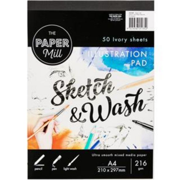 The Paper Mill A4 216gsm Sketch & Wash Illustration Pad 50 Sheets deal at $18.39
