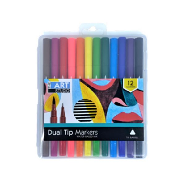 Art Studio Double Ended Sketch Markers Assorted Colours 12 Pack deal at $5