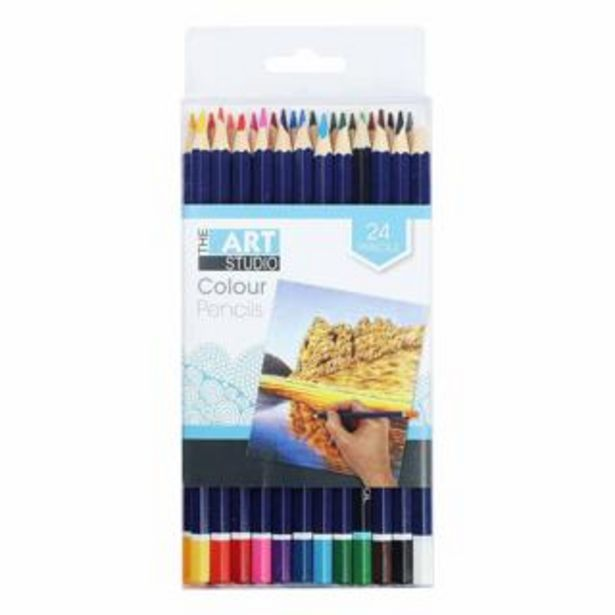 The Art Studio Coloured Pencils Assorted Colours 24 Pack deal at $4