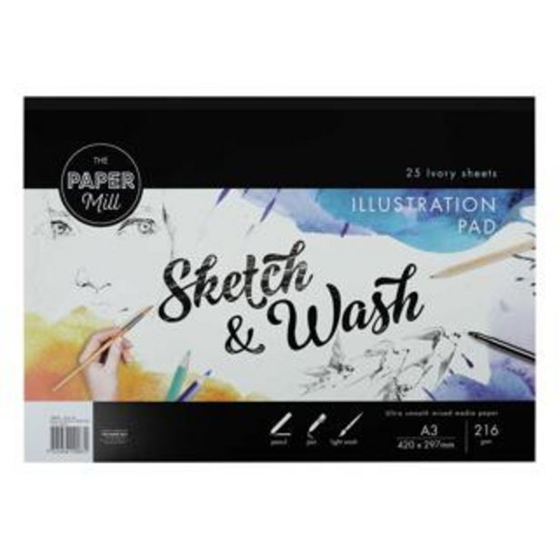The Paper Mill A3 216gsm Ultra Smooth Sketch & Wash Illustration Pad 25 sheets deal at $12.99